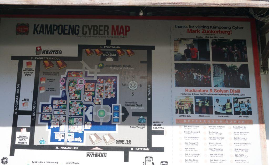 Foto der Kampoeng Cyber Map im Areal um das Wasserschloss Taman Sari.