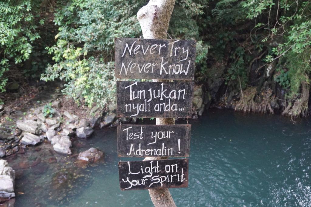 "Schild am Aling-Aling Wasserfall mit der Aufschrift ""Never Try Never Know"""