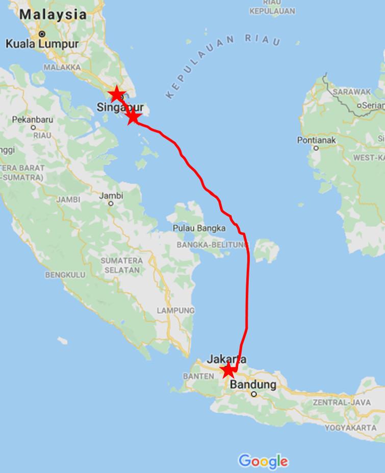 Google Maps - Karte mit eingezeichneter Reise-Route.