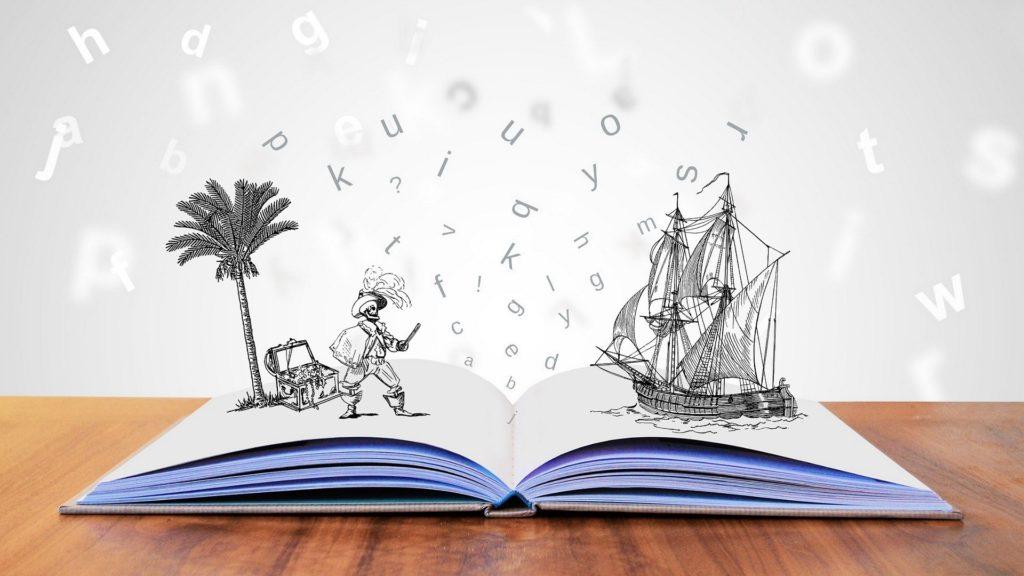 Geöffnetes Buch, aus dem Abenteuer springen.