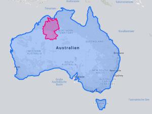 Karte: Flächenvergleich Australien Deutschland