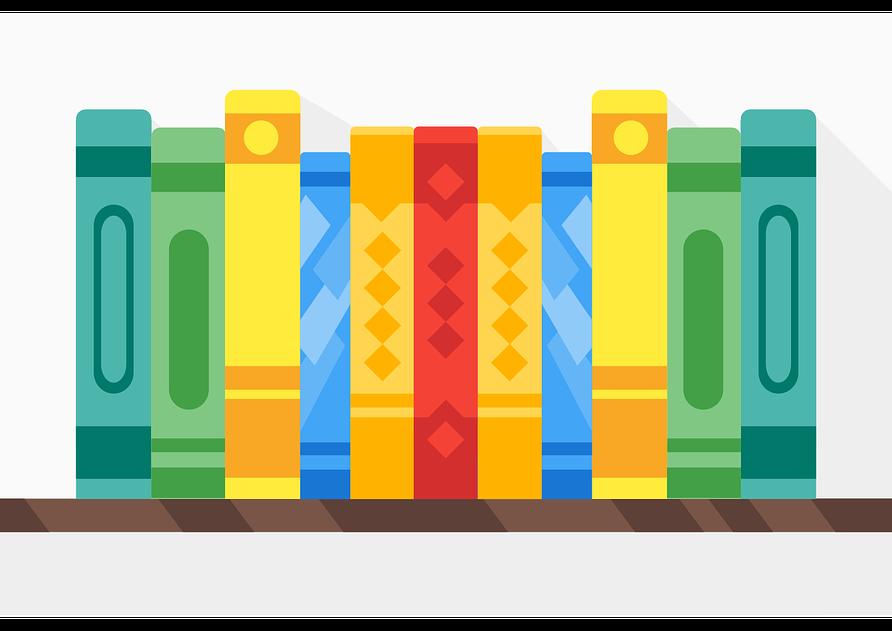 Tipps gegen Langeweile: Weiterbildung. Vektorgrafik mit bunten Büchern.