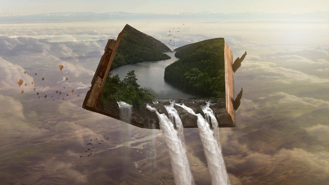 Fantasybuch, das über Landschaft fliegt.