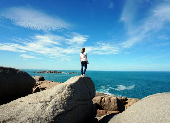 Mona auf Klippen nahe Victor Harbour