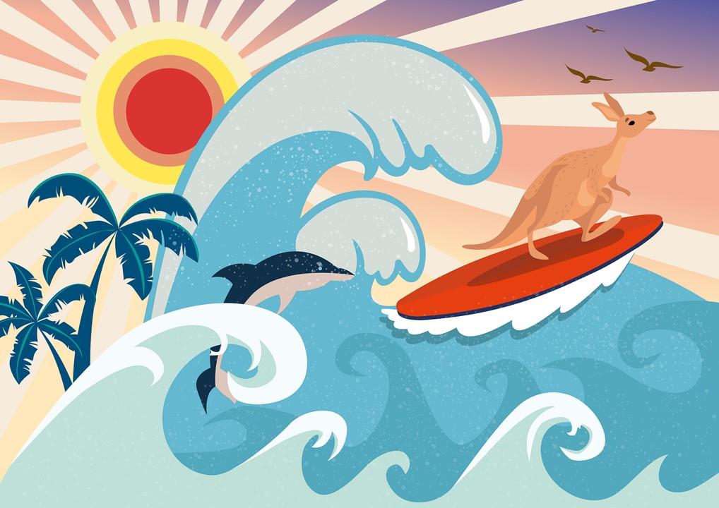 Delfin und Känguru surfen in Wellen