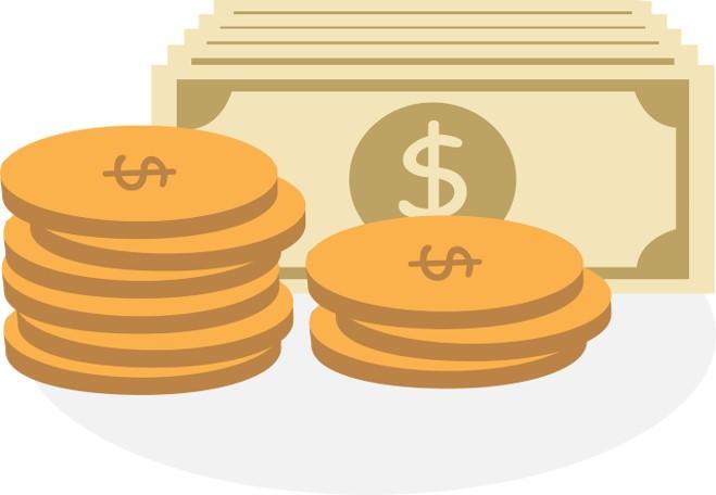 Illustration von Dollar-Scheinen und Münzen