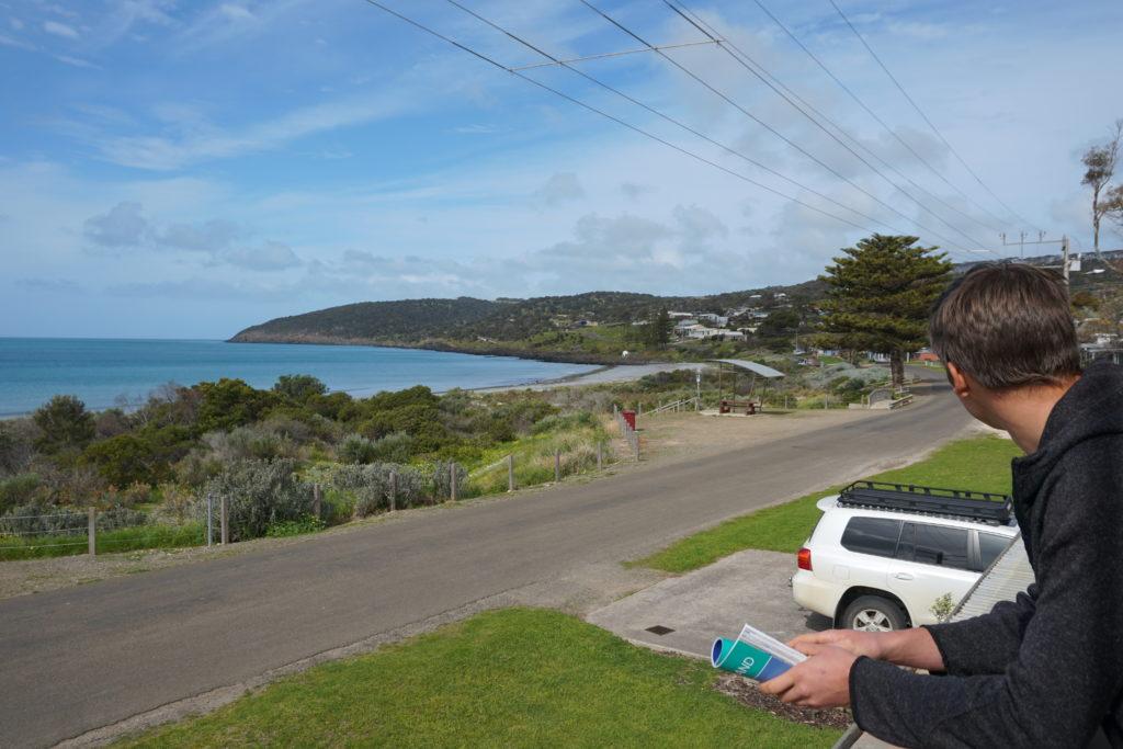 Balkonaussicht des Ferienhauses bei unserem Kurzurlaub auf Kangaroo Island